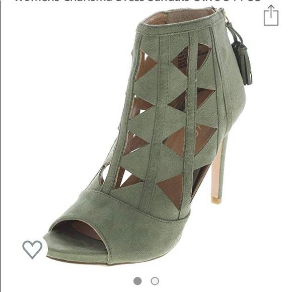 XOXO Shoes | Olive Colored Peep Toe